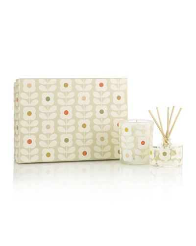 Orla Kiely Basil/Mint Mini Candle & Diffuser Set