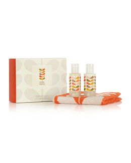 Orla Kiely Geranium Bath Gel, Lotion & Washcloth Set
