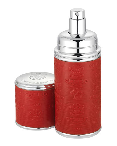 Logo Etched Leather Atomizer, Silver/Red