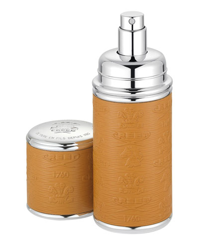 Logo Etched Leather Atomizer, Silver/Camel