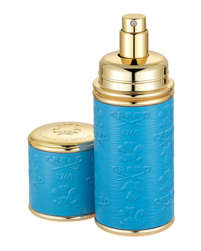 Logo Etched Leather Atomizer, Gold/Blue
