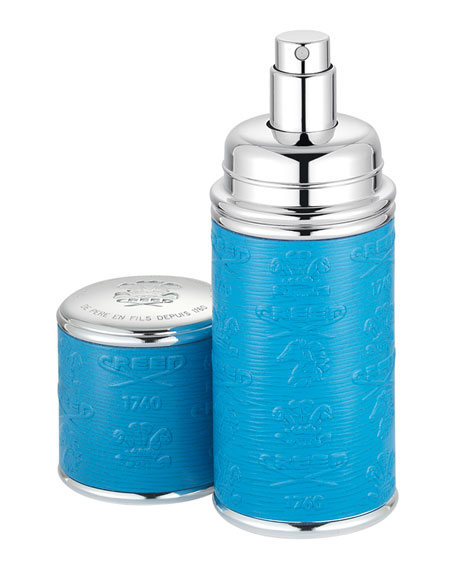 Logo Etched Leather Atomizer, Silver/Blue