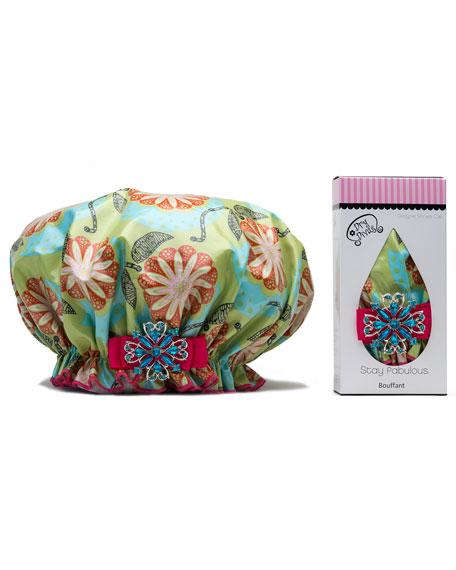 Dry Divas Shower Cap with Vintage Brooch, Mandarin