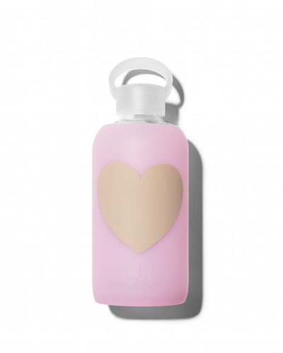 Glass Water Bottle, Cupcake Heart, 500 mL