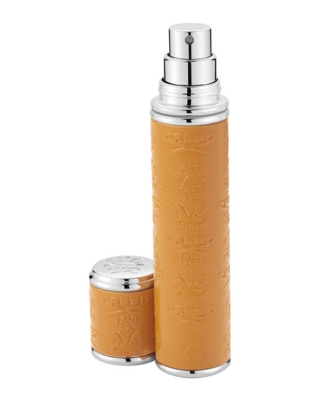 Pocket Atomizer in Camel Leather with Silver Trim, 10 mL
