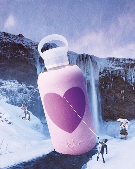 Glass Water Bottle, Rose Heart, 500 mL