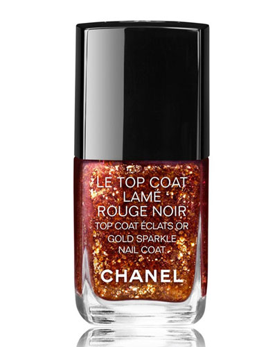 <b>LE TOP COAT LAM&#201; ROUGE NOIR - COLLECTION VAMP ATTITUDE</b><br>Gold Sparkle Nail Coat - Limited Edition