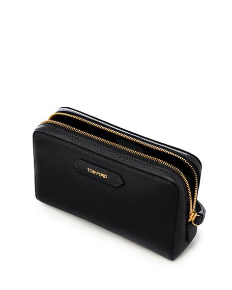 Medium Leather Cosmetics Bag, Black