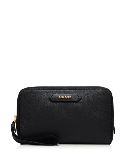 Medium Leather Cosmetics Bag, Black