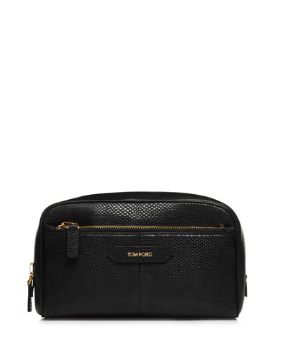 Snake-Print Embossed Large Leather Cosmetics Bag, Black