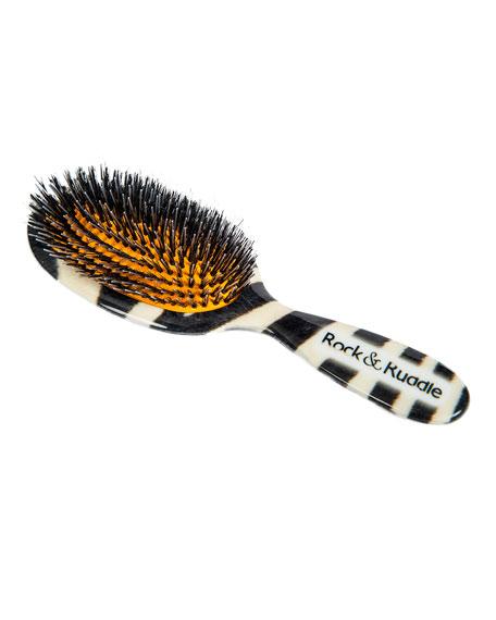 Large Zebra-Print Mixed Bristle Hairbrush