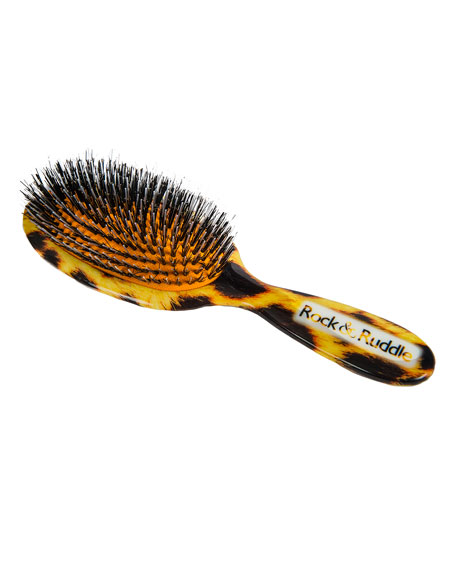 Large Leopard-Print Mixed Bristle Hairbrush
