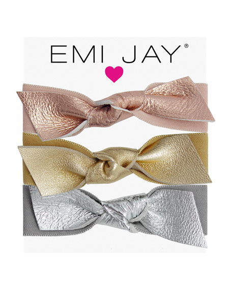 Emi Jay Metallic Leather Bow Hair Ties, 3-Pack