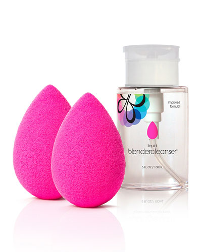 2 original pink blenders + liquid cleanser, 5 oz.