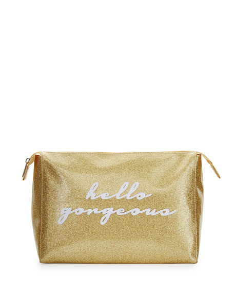 Betty Large Cosmetics Bag, Gold Glitter