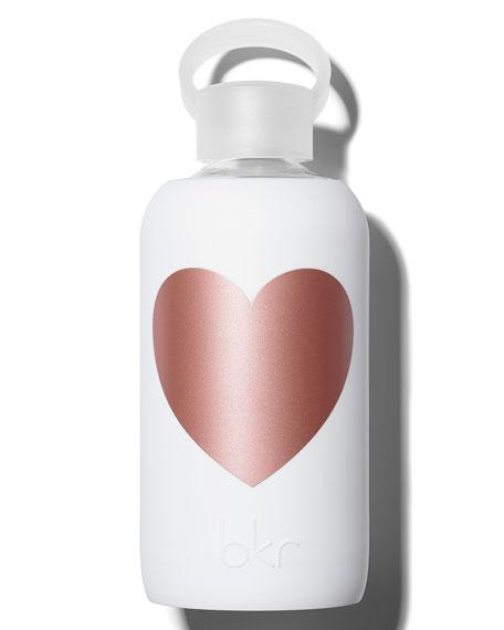 Glass Water Bottle, Metallic Rose Winter Heart, 500 mL