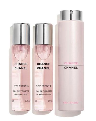 <b>CHANCE EAU TENDRE</b><br> Eau de Toilette Twist & Spray, 3 x 0.7 oz./ 21 mL