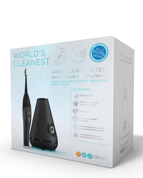 Aura Clean Toothbrush & Cleaning Station, Black