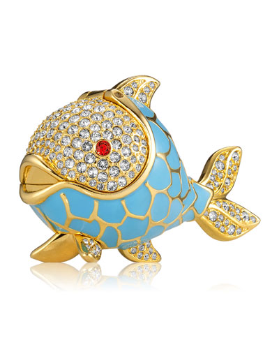 Limited Edition Beautiful Whimsical Fish Perfume Compact by Monica Rich Kosann