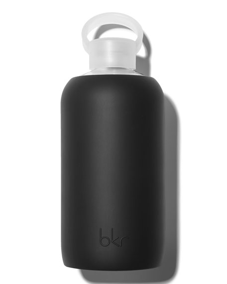 Glass Water Bottle, Jet, 34 oz./ 1L