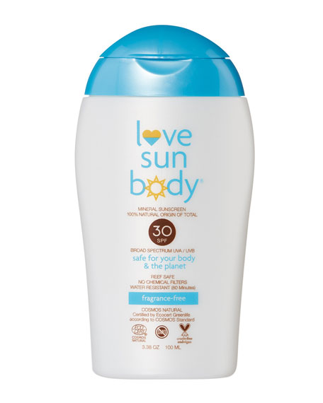 Love Sun Body 100% Natural Origin Mineral Sunscreen SPF 30 Fragrance-Free – Cosmos Natural, 3.38 oz./ 100 mL