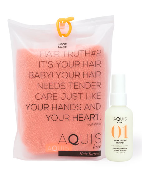 Aquis Tangerine Rapid Dry Lisse Hair Turban + 2 oz. Prime Water Defense Prewash