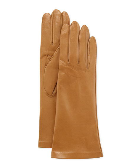 Four-Button Silk-Lined Classic Gloves, Winter Red
