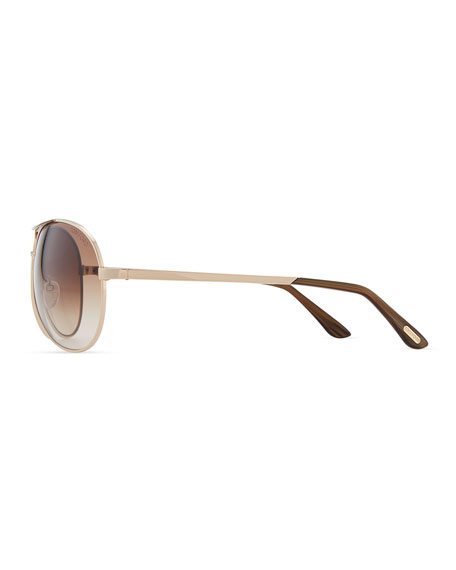 Classic Aviator Sunglasses, Rose Gold