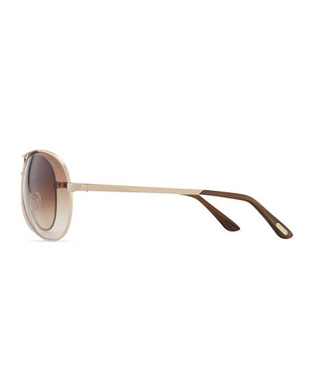 Classic Aviator Sunglasses, Rose Gold