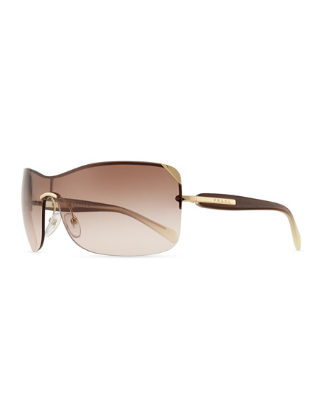 Timeless Shield Sunglasses, Gold