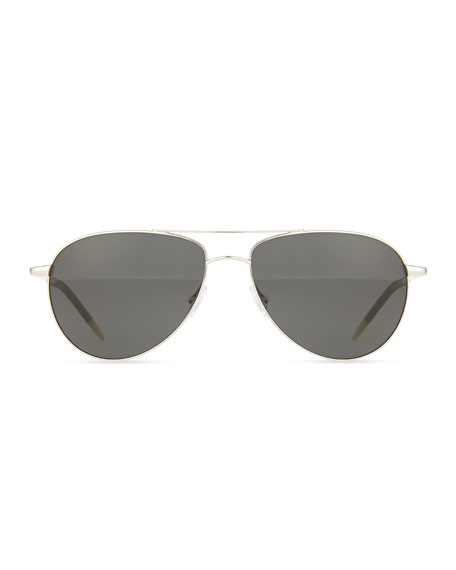 Benedict Basic Polarized Aviators, Silver/Gray
