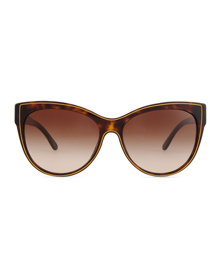 Soft Opaque Cat-Eye Sunglasses, Dark Tortoise