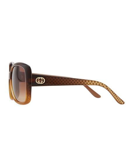 Oversized Square Diamond-Pattern Sunglasses, Cuir