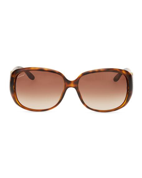 Wrap Crystal Logo Sunglasses, Havana