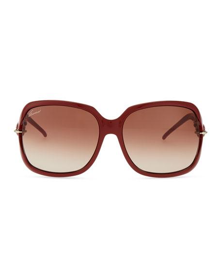 Open-Temple Square Sunglasses, Brick