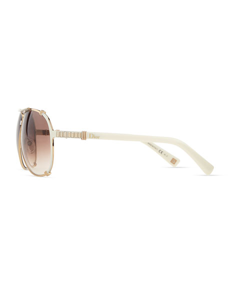 Chicago Crystal Aviator Sunglasses, Rose Golden/Violet