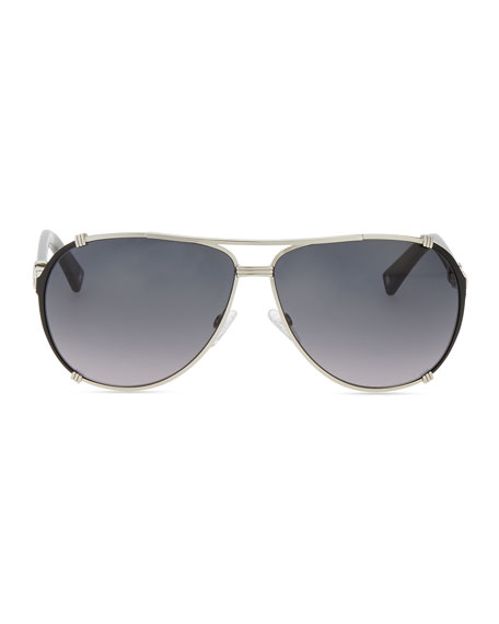 Chicago Crystal Aviator Sunglasses, Palladium/Gray
