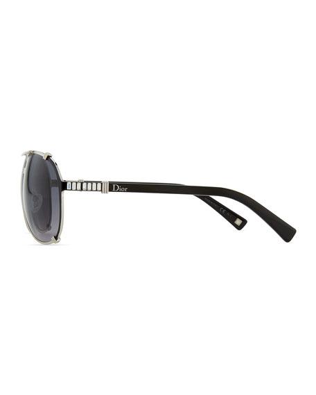 Chicago Crystal Aviator Sunglasses, Palladium/Gray