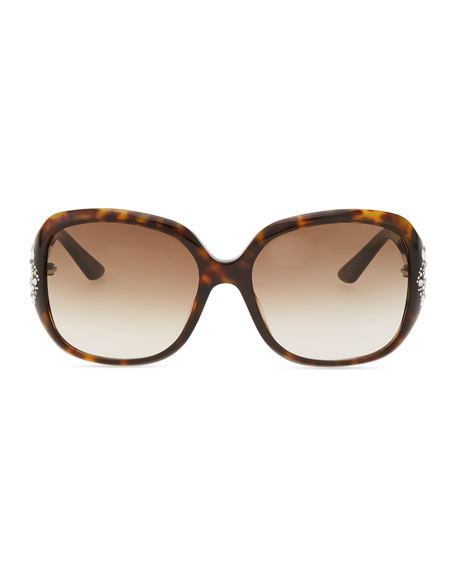 Minuit Crystal-Encrusted Oversized Wrap Sunglasses, Dark Havana