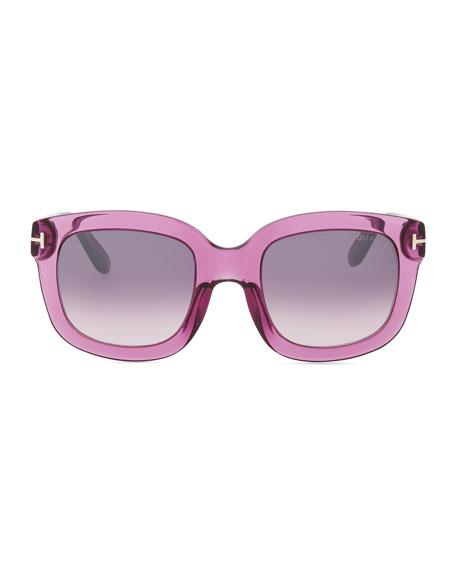 Christophe Oversized Sunglasses, Shiny Violet
