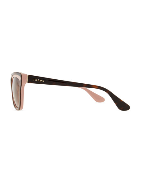 Two-Tone Retro Rectangle Sunglasses, Pink/Havana
