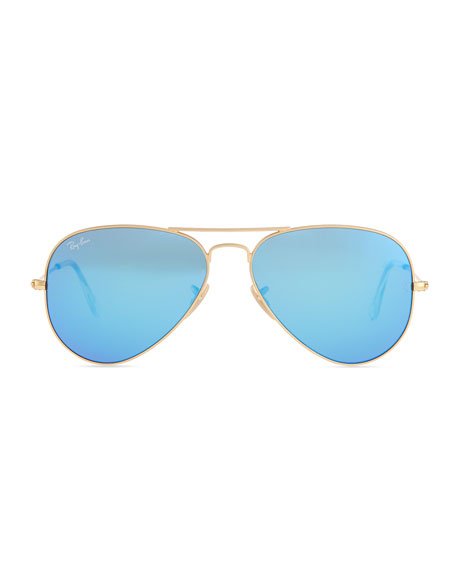 aviator blue sunglasses  Ray-Ban Aviator Sunglasses with Flash Lenses, Gold/Blue Mirror