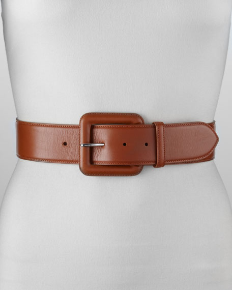 Contoured Leather Trench-Buckle Belt, Camel