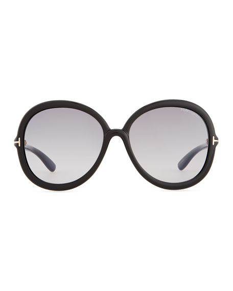 Tom Ford Candice Plastic Butterfly Sunglasses, Shiny Black