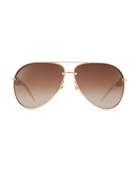 Crystal-Temple Aviator Sunglasses, White