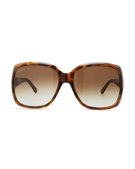 Rounded-Square Sunglasses, Havana