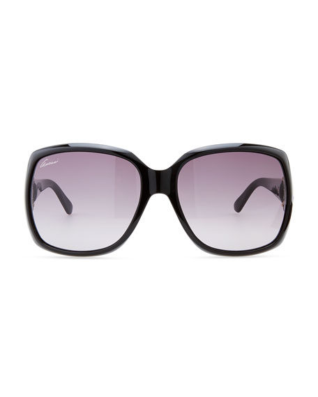 Rounded-Square Sunglasses, Shiny Black