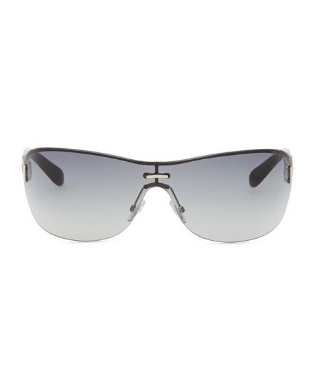 Gradient Shield Sunglasses, Gray/Palladium