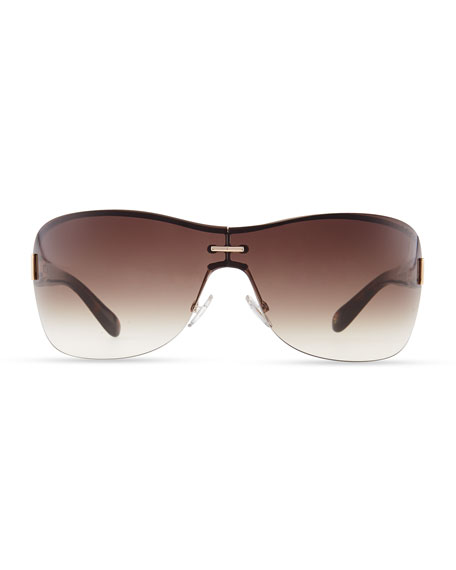 Gradient Shield Sunglasses, Brown/Golden Havana