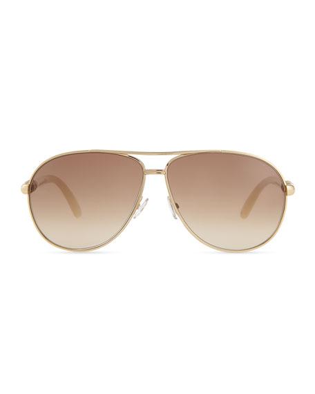 Walde Crystal-Temple Aviator Sunglasses, Ivory